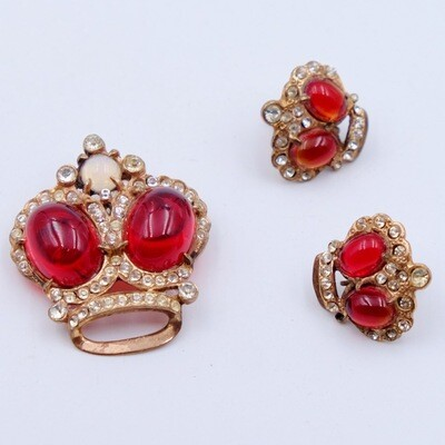 Vintage Sterling Silver Red Glass Crown Brooch and Earrings Set 1940s