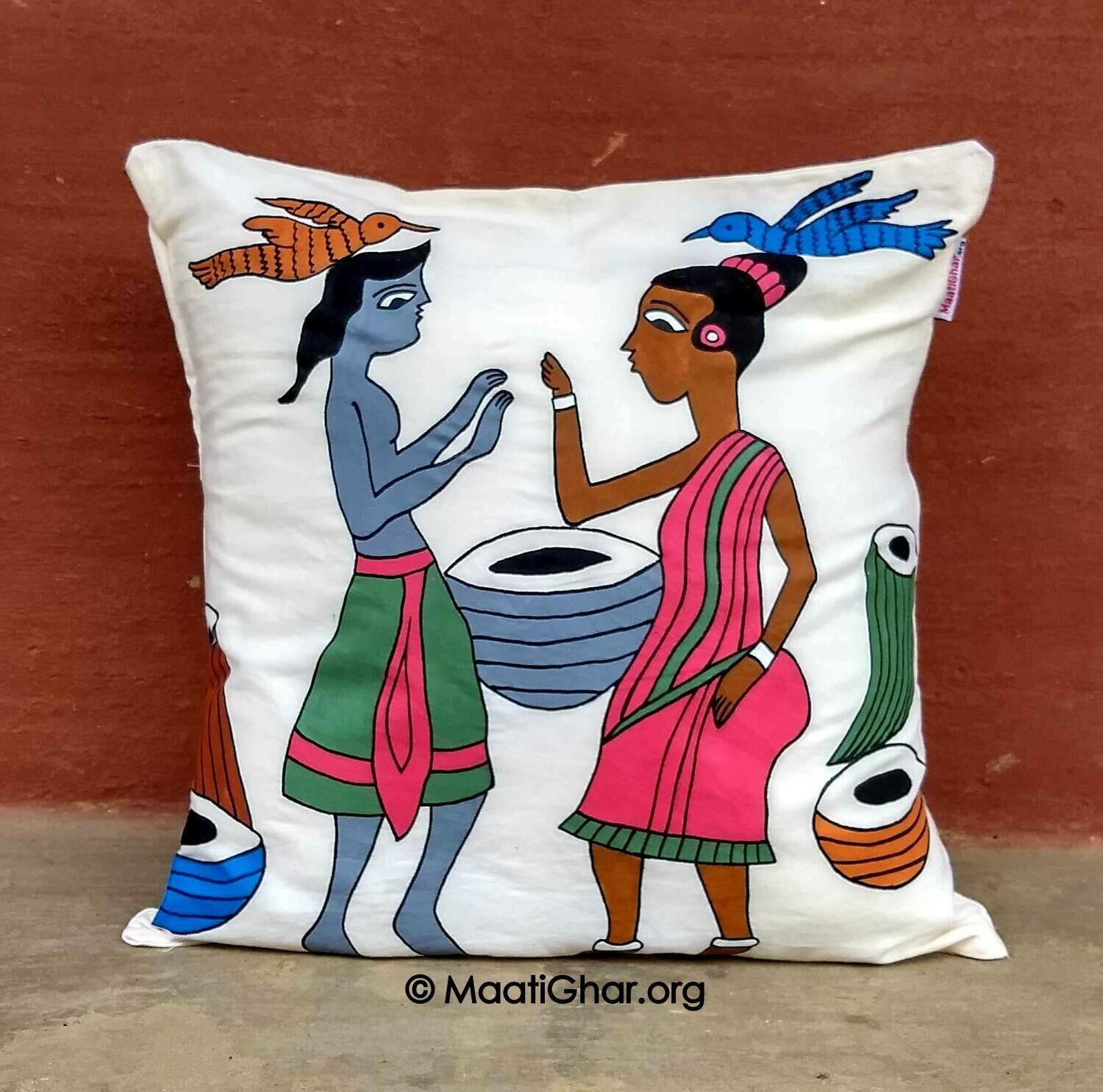 Santhal Painting Cotton Cushion Cover - Celebration (16 in x 16 in)