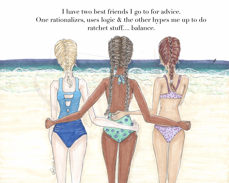 Customizable Three Best Friend Beach Print