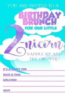 Unicorn Birthday Party Brunch Invitation Free Printable