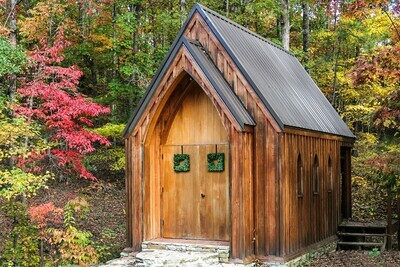Rustic Gothic Church in the Fall