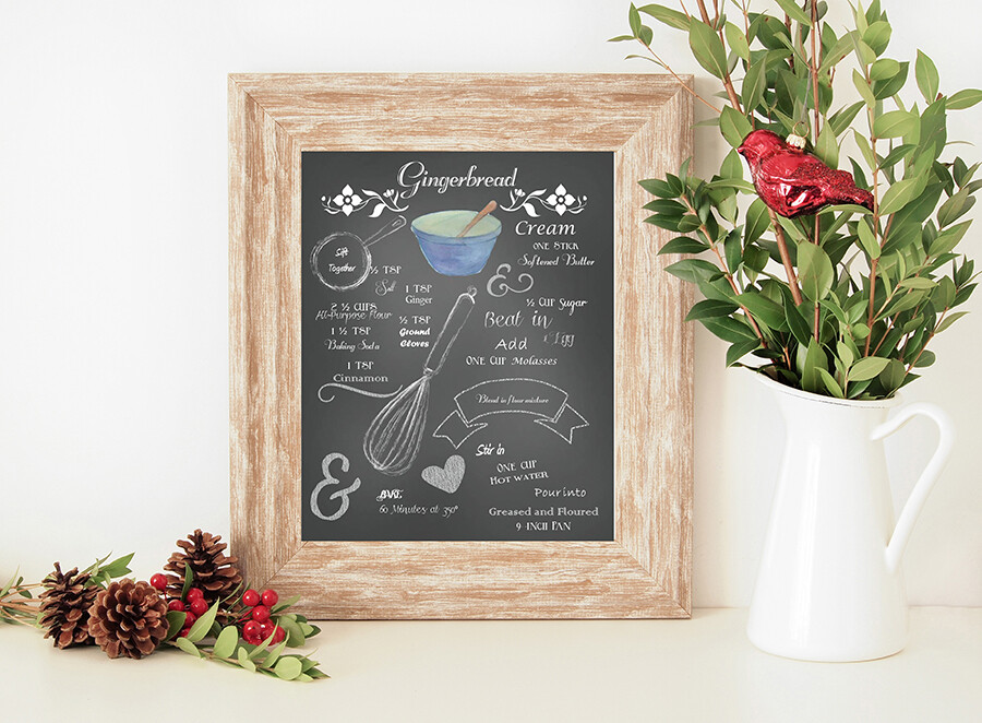 Gingerbread Recipe {with hand-drawn chalk instructions} Christmas Printable