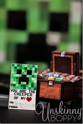 Minecraft Valentine's Cards for Kids