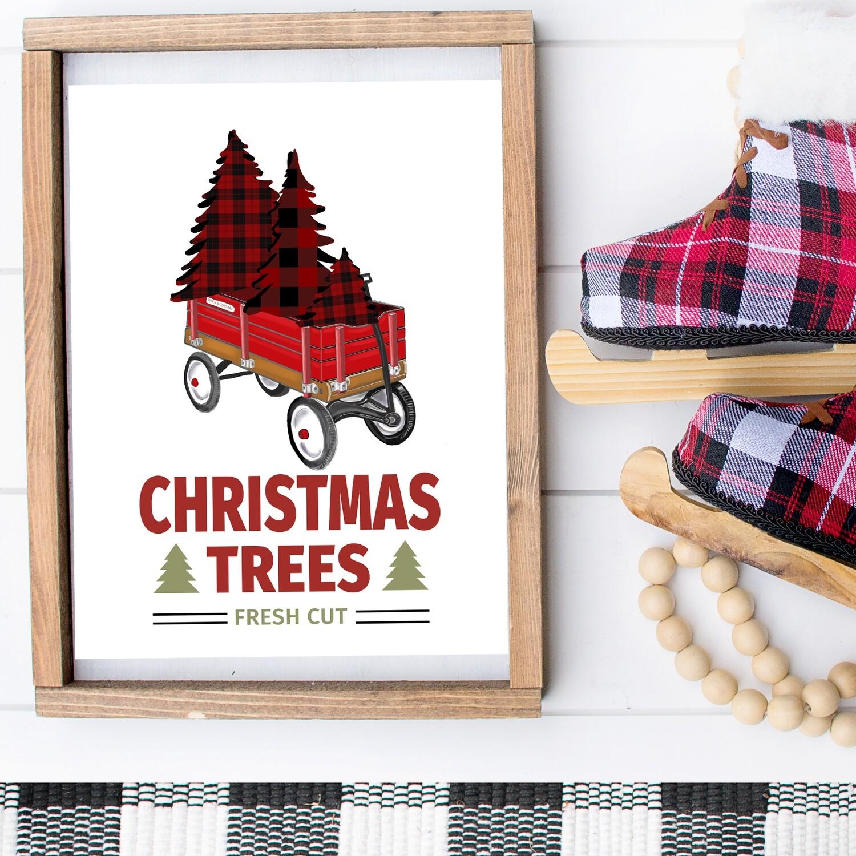 Christmas Trees, Fresh Cut Plaid + Red Wagon Printable