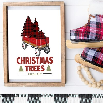 Christmas Trees, Fresh Cut Plaid + Red Wagon Printable