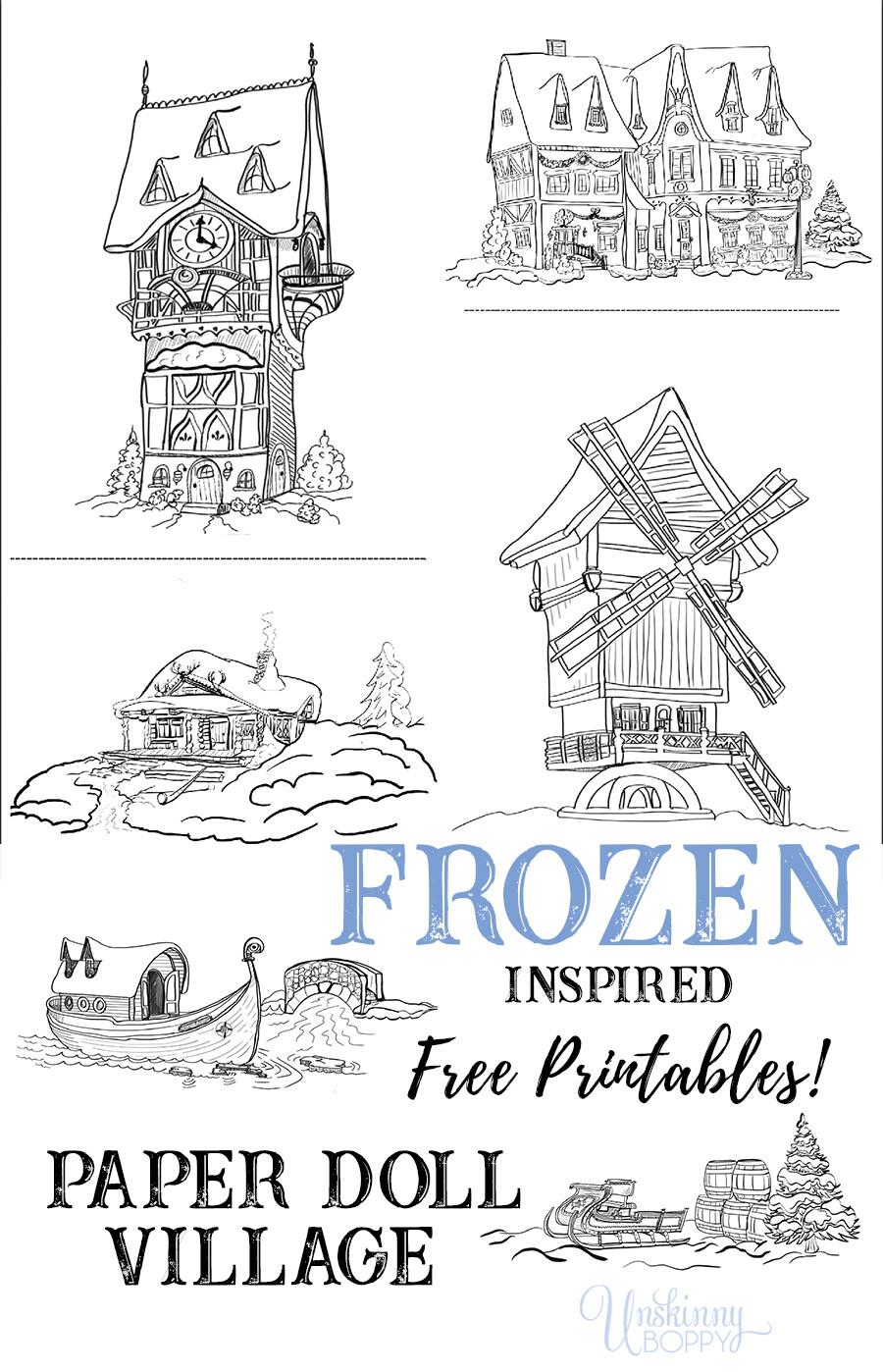 Frozen Inspired Arendelle Paper Doll Village Scenes Free Printable