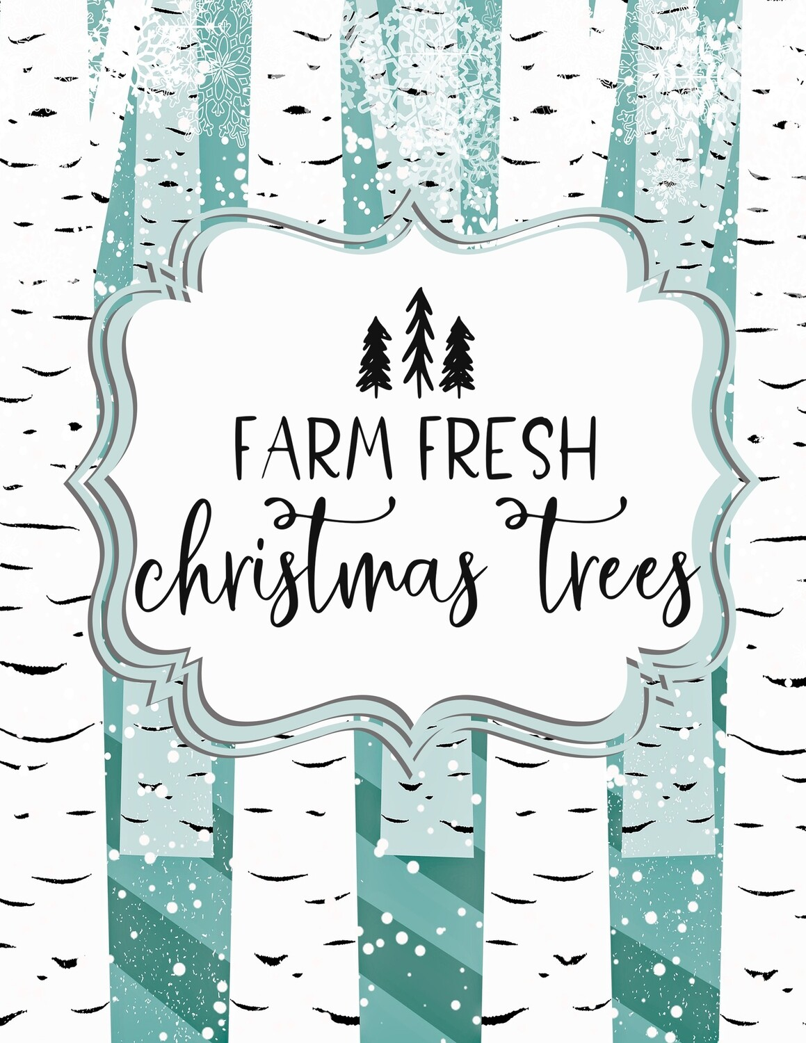 Farm Fresh Christmas Trees- Aqua Blue and White Birch