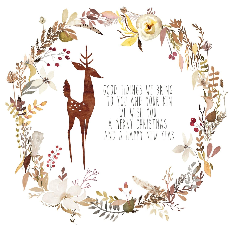 Good Tidings Rustic Deer and Wreath Printable