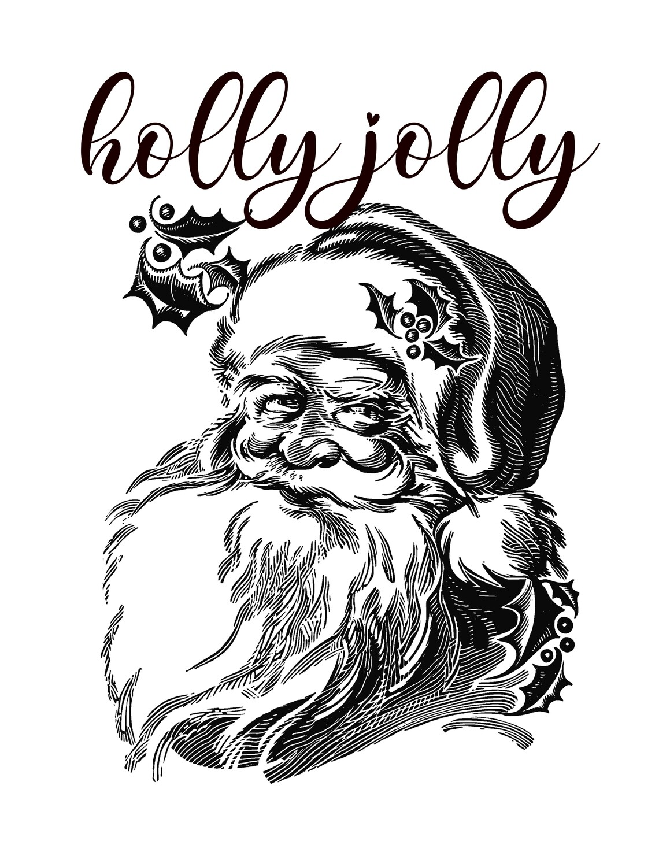 Holly Jolly Christmas Black and White Santa Free Printable