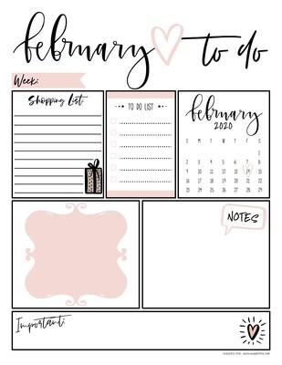 February Daily Organizer/ To Do List Free Printable