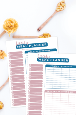 Weekly Meal Planner Free Printable includes Pantry Inventory and Grocery Shopping List!