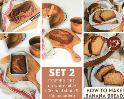 2. Homemade Banana Bread -  {Copper + Red Background} SET TWO