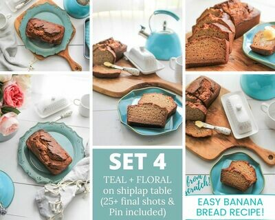 4. Homemade Banana Bread -  {Aqua + Floral on White Farmhouse Shiplap} SET FOUR