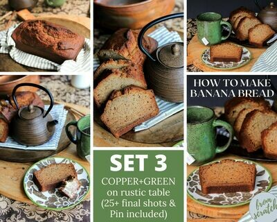 3. Homemade Banana Bread -  {Rustic Copper+ Green with Black Background} SET THREE