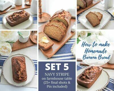 5. Homemade Banana Bread -  {Navy Blue Stripe on Farmhouse Shiplap} SET FIVE
