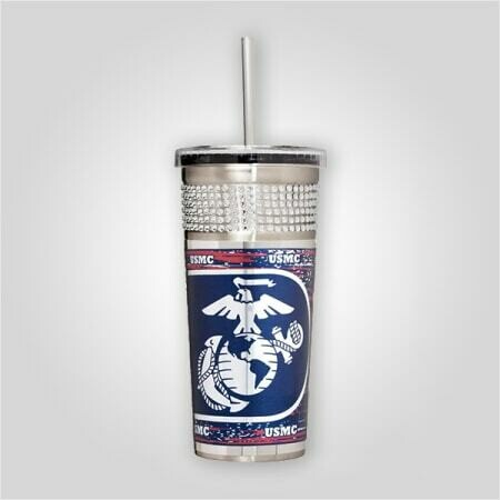 Marines 16 oz Bling Tumbler