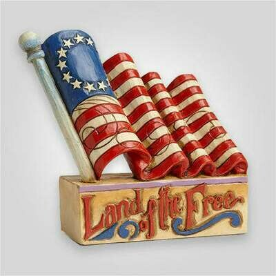 'Land of the Free' Flag Figurine