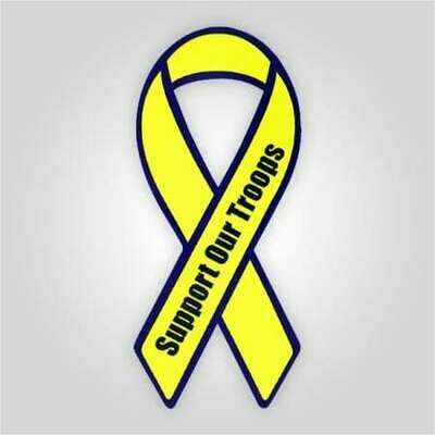 Support Our Troops Auto Magnet Yellow