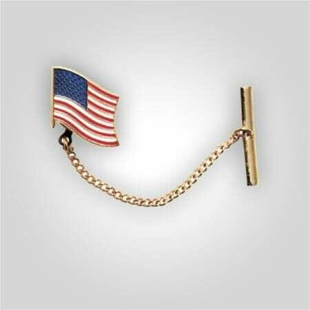 American Flag Tie Tack w/Chain