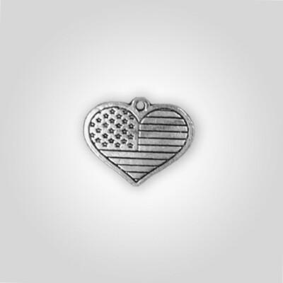 USA Flag Heart Charm