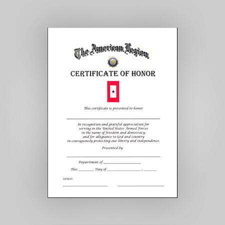 Blue Star Certificate of Honor