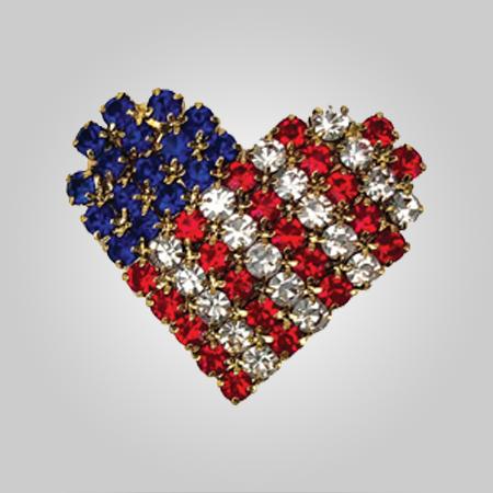 American Crystal Heart Pin