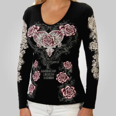 Lady Riders Hearts N Roses Long Sleeve Shirt