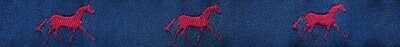 Horse Binding- Navy/Red Horse