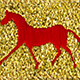 Horse Binding- Gold/Red Horse