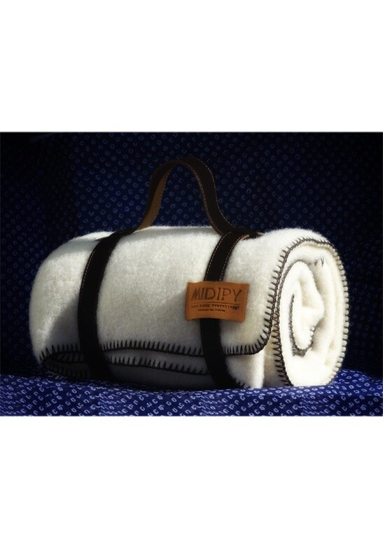 Midipy Ivory Plaid Child with its Chocolate Stitch and Leather Strap
