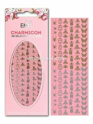 Charmicon 3D Silicone Stickers #2 Insects, Gold/Silver