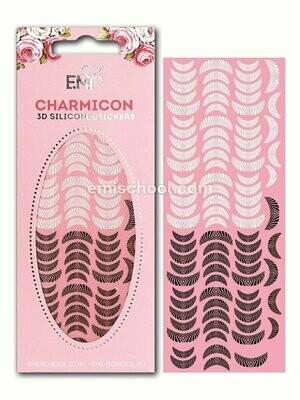 Charmicon 3D Silicone Stickers Lunula #16, Black/White