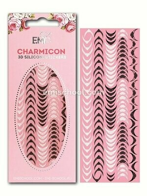 Charmicon 3D Silicone Stickers Lunula #10, Black/White