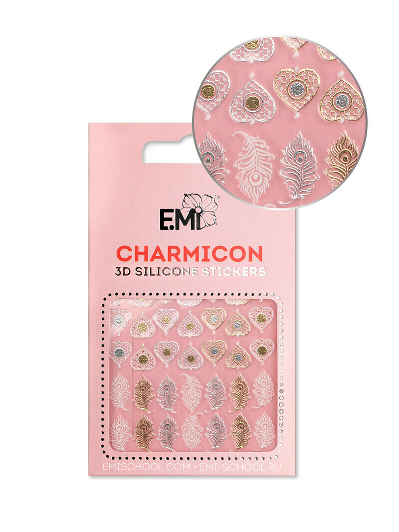Charmicon 3D Silicone Stickers #107 Feathers & Hearts
