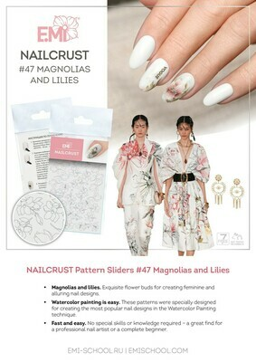 NAILCRUST Pattern Sliders #47 Magnolias and Lilies