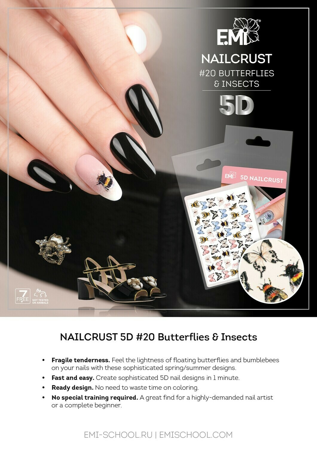 NAILCRUST 5D #20 Butterflies & Insects