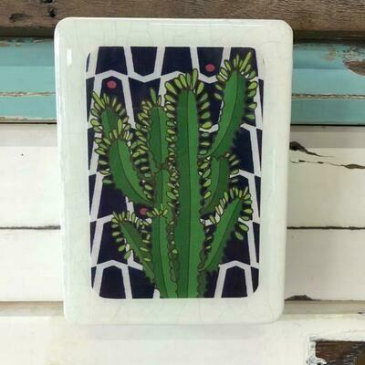 Mini Woodblock - Leafy Cactus