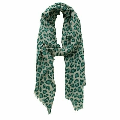 Animal Ocelot Printed Scarf - Wool - Forest