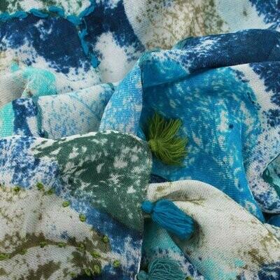 Vienna Hand Embroidered Wool Scarf - Blue