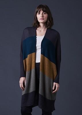 Piper Long Line Jersey Cardigan - S/M - Cinnamon - 100% Merino Wool