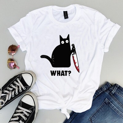 Cat What? Funny Black Cat Shirt, Murderous Cat With Knife T-shirt,  Cat What design 2019, Cat What halloween tshirt, cat what halloween shirt, Funny Black Cat, Murderous Cat With Knife, Kitty What