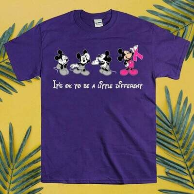 Disney Mickey Pink It's Ok To Be A Little Different Warrior Breast Cancer Awareness Gift For Strong Girl Women Grandma Mother Unisex T-shirt, Disney Mickey Pink, Breast Cancer shirt, Strong Women