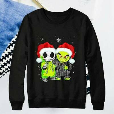 Jack Skellington and Grinch Christmas Movies Gift Shirt on Xmas Day Nightmare before Christmas, Xmas Gift Idea or any Ocassions, jack skellington, stole christmas, jack and sally shirt