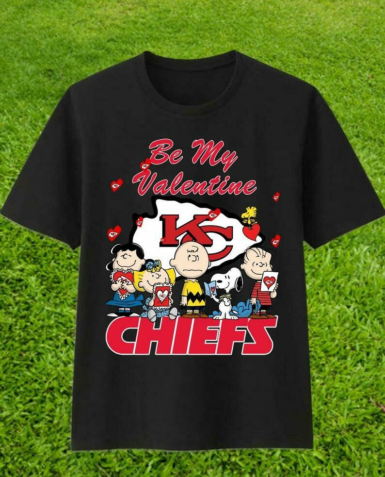 Be My Valentine Kansas City Chiefs Snoopy,Woodstock and Charlie Brown,Peanuts Friends Floating Football Team Dad Mon Kid Fan Gift T-Shirt, KC Football Team, Kansas City Chiefs, Funny Football gift