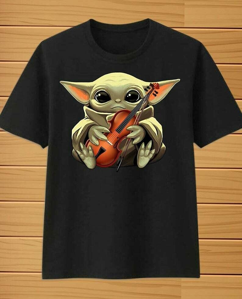 Baby Yoda Best Violinist,Violin Player,Music Teacher Violinist Gift,Baby Yoda hug Violin Musically Gold T-Shirt, Baby Yoda T-Shirt, The Best Violinist, Yoda Violinist Gift, Violinist Gifts tee