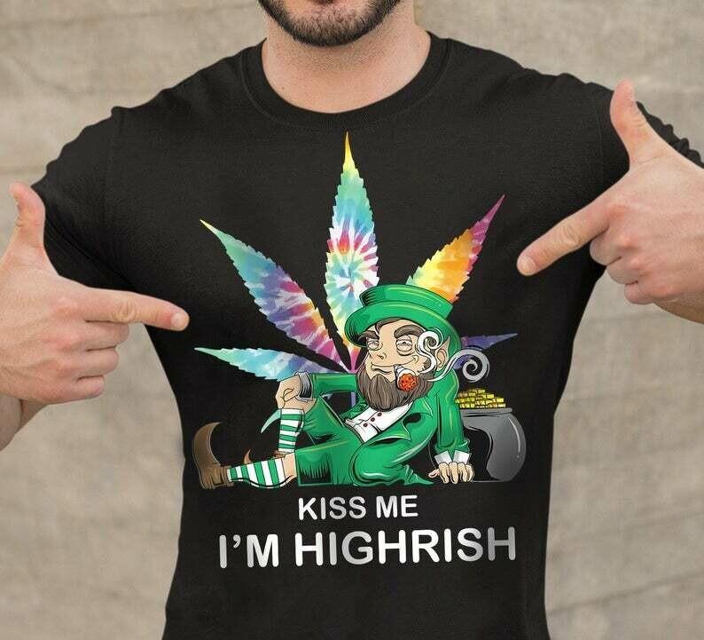 Kiss me I'm Highrish Baby Yoda St. Patrick's Day Irish Ireland shamrock Paddy Patty Day,Luck Of The Irish Green Clover, Shamrock American, Irish American Shirt, Kiss me i'm highrish, Irish Ireland