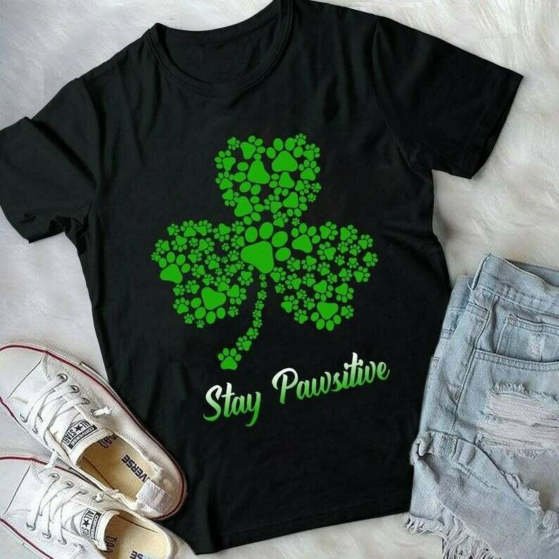 Shamrock Science Four Leaf Clover Stay Pawsitive Saint Patrick's Day Irish T-Shirt