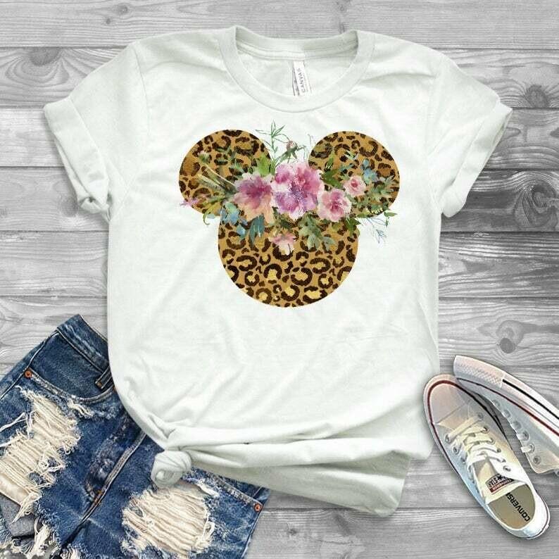 minnie flower shirt, disney shirt, leopard disney shirt, animal kindgom tshirt, animal kindgom tee