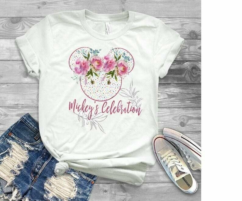 mickey celebration shirt, disney celebration shirt, disney floral shirt, mickeys 90th birthday, mickeys birthday shirt, rock the dots,