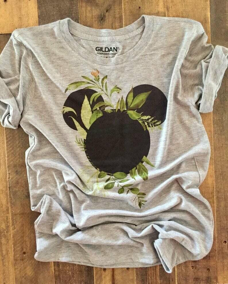 disney greenery shirt, disney shirt floral mickey and minnie, disney shirts for the family, matching disney shirts